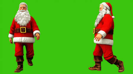 Santa claus is walking on green screen during Christmas. 3D Rendering