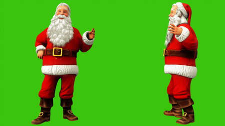 Cheerful Santa Claus is saying something on the green screen during Christmas. 3D Rendering Imagens