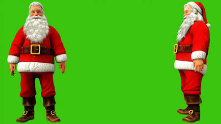 Jolly Santa Claus sighs and shrugs on the green screen during 4K Christmas. 3D Rendering
