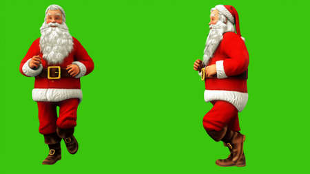 Santa Claus is running around with acceleration on a green screen during Christmas. 3D Rendering