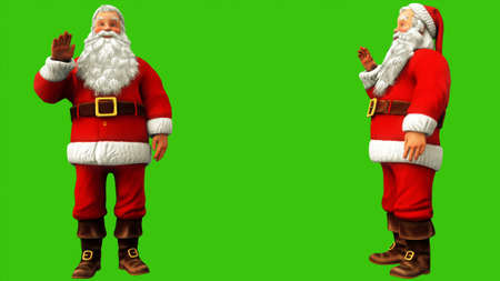 Santa Claus is waving his hand on the green screen during Christmas. 3D Rendering