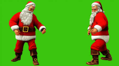 Santa Claus plays guitar on green screen during Christmas. 3D Rendering