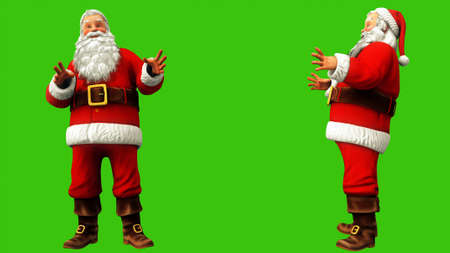 Santa Claus is making a wave of his hands on the green screen during Christmas. 3D Rendering