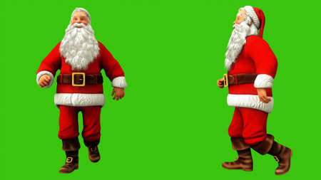 Santa Claus is having fun walking on the green screen during Christmas. 3D Rendering