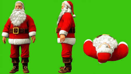 Santa Claus is typing the code on the green screen during Christmas. 3D Rendering