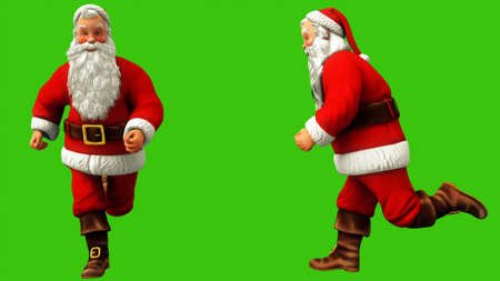 Santa claus is fast running around on green screen during Christmas. 3D Rendering