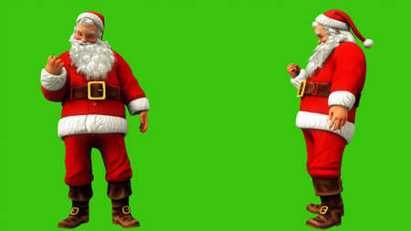 Santa Claus makes a hand sign on the green screen during Christmas. 3D Rendering