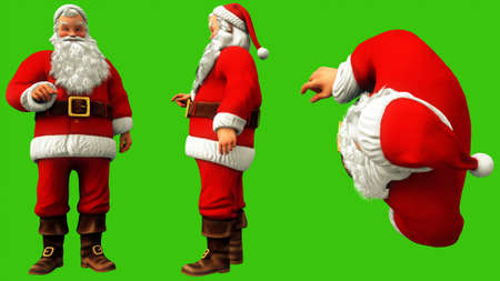 Santa Claus presses the button on the green screen during Christmas. 3D Rendering Imagens