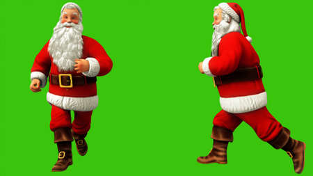Santa claus is running around on green screen during Christmas. 3D Rendering Imagens