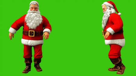 Santa claus walks by moonwalk on green screen during Christmas. 3D Rendering