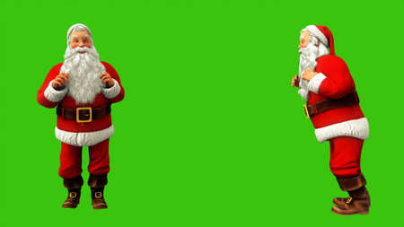 Santa Claus is jumping on green screen during Christmas. 3D Rendering