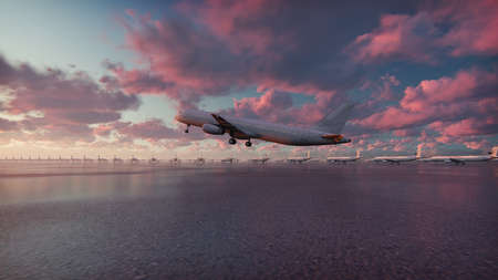 Plane takes off at sunset background. 3D Rendering