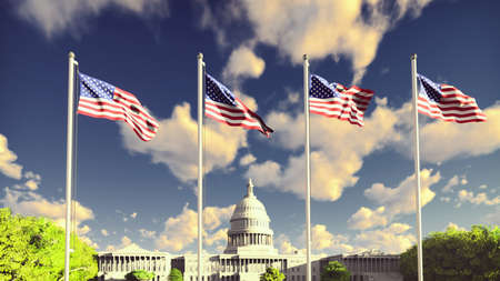 The American flags flutters in the wind on a sunrise against the blue sky and the Capitol. 3D Rendering Фото со стока