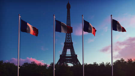 The Flag Of France. Beautiful  of the French flag on the background of blue sky, clouds and Eiffel tower on a sunrise. 3D Rendering Banco de Imagens