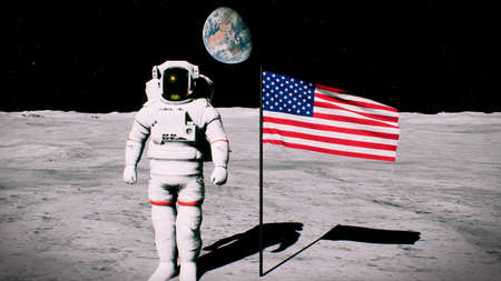 Astronaut on the moon near the us flag salutes. 3D Rendering 写真素材