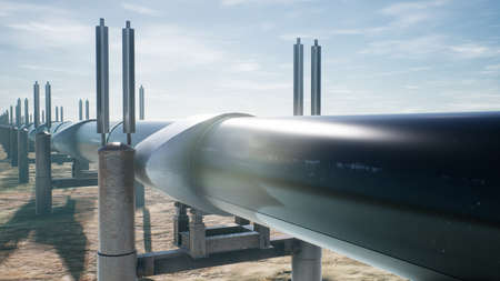 Pipeline transportation oil or natural gas. 3D Rendering