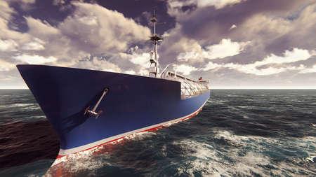 LNG tanker floating in the ocean at sunrise. 3D Rendering