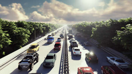 The camera flies over heavy traffic. Cars go through the city in the afternoon. 3D Rendering