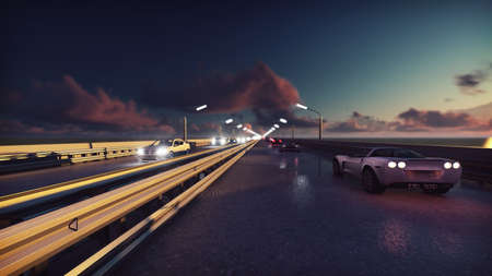 Night lights of the cars and background traffic. Cars with lights on go on the bridge at sunrise. 3D Rendering