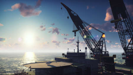 Oil platform, offshore platform, or offshore drilling rig in sea at sunrise. 3D Rendering