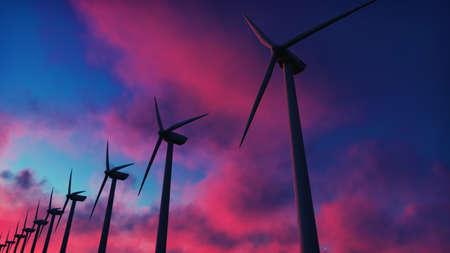 Windmühlenfarm bei Sonnenuntergang. Silhouette einer Windmühle vor einem roten Himmel. 3D-Rendering Standard-Bild