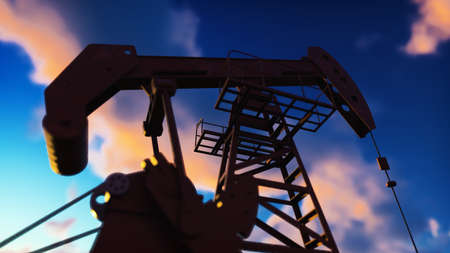 Pump jack industrial machine for petroleum in the sunrise. Silhouette of a pump jack pumping oil against a red sky. 3D Rendering