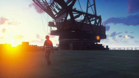 Oil worker walks on an oil platform at sunrise. 3D Rendering