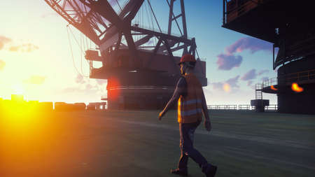 Oil worker walks on an oil platform at sunrise. 3D Rendering