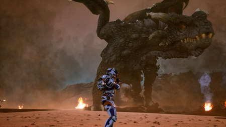 Astronauts against the dragon. Epic battle with explosions, shots and smoke on an uncharted planet. 3D Rendering