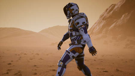 Astronaut walks on the surface of Mars through a dust storm. Panoramic landscape on the surface of Mars. 3D Rendering