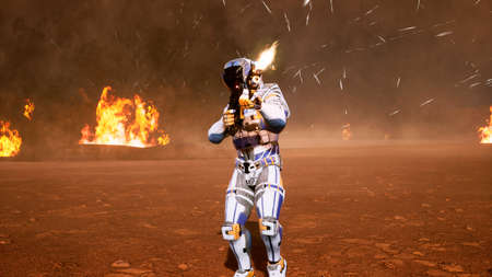 A lone soldier of the future on the battlefield attacks the enemy in the smoke in the middle of explosions on an unknown planet. 3D Rendering Stock Photo