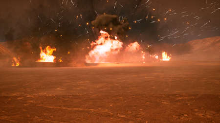 The battlefield in the smoke in the middle of explosions on an uncharted planet. 3D Rendering Banque d'images