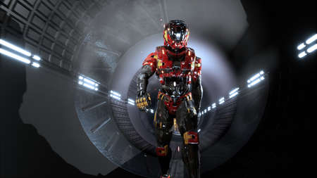 The astronaut passes through a futuristic sci-fi tunnel with sparks and smoke, the interior view. 3D Rendering