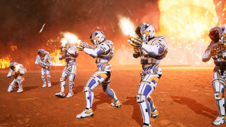 The commander and his soldiers of the future attack the enemy in the smoke in the middle of explosions on an uncharted planet. 3D Rendering Stock Photo