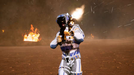A lone soldier of the future on the battlefield attacks the enemy in the smoke in the middle of explosions on an unknown planet. 3D Rendering Imagens