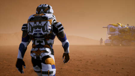 Astronaut walks on the surface of Mars to the Rover, through a dust storm. Panoramic landscape on the surface of Mars. 3D Rendering 写真素材