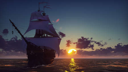 Large medieval ship on the sea on a sunset. The old medieval ship gracefully sails in the open sea. 3D Rendering