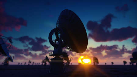 Large Array Radio Telescope. Time-lapse of a radio telescope in desert at sunrise against the blue sky. 3D Rendering Stock Photo
