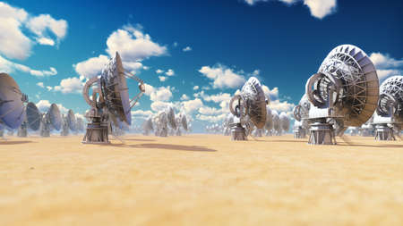 Large Array Radio Telescope. Time-lapse of a radio telescope in desert at sunny day. 3D Rendering