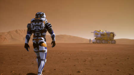Astronaut walks on the surface of Mars to the Rover, through a dust storm. Panoramic landscape on the surface of Mars. 3D Rendering Stock Photo