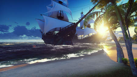 A large medieval ships at sea at sunrise. An ancient medieval ships moored near a desert tropical island. 3D Rendering Zdjęcie Seryjne