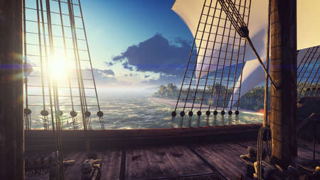 A large medieval ship in the ocean at sunset. An ancient medieval ship docked near a deserted tropical island. 3D Rendering