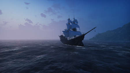 A large medieval ship in the sea in the fog floats to a desert rocky island. 3D Rendering
