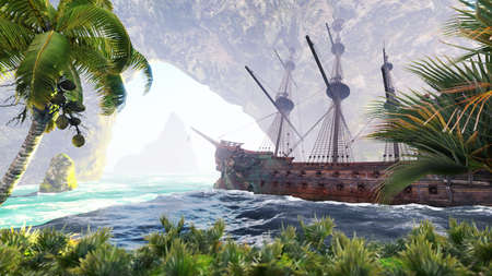 A large medieval ship at sea on a Sunny day near ancient rocks. An ancient abandoned medieval ship found its home on a desert rocky island. 3D Rendering