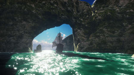 A large medieval ship on a Sunny day sails from a deserted rocky island. 3D Rendering Standard-Bild