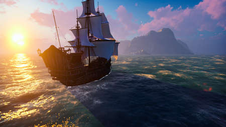 A large medieval ship at sea at sunrise. An ancient medieval ship sails to a deserted rocky island. 3D Rendering
