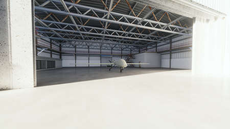 Military drone stands in his hangar on a Sunny day. 3D Rendering