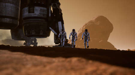 Astronauts walk on the surface of Mars after landing in a rocket. Panoramic landscape on the surface of Mars. 3D Rendering