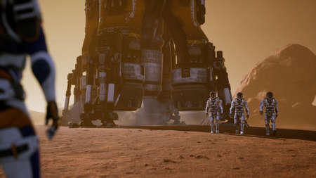 Astronauts go to the Rover after landing in a rocket on. Panoramic landscape on the surface of Mars. 3D Rendering