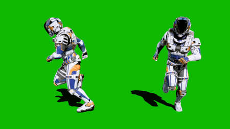 A lone soldier of the future runs on a green screen background. 3D Rendering
